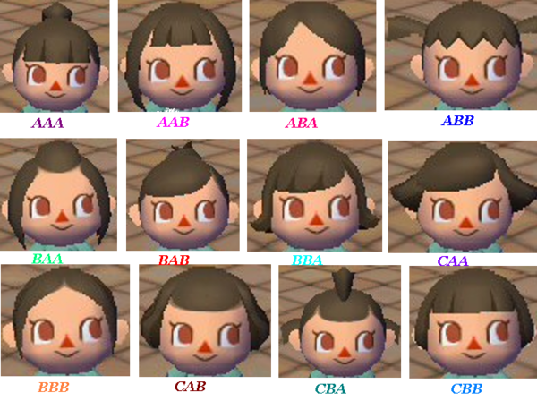 Tou sur Animal Crossing - Acnl Hairstyles